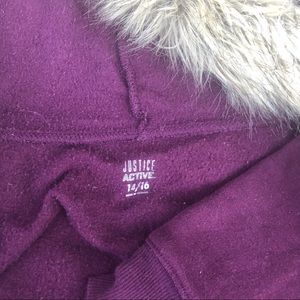 Justice Jackets & Coats - Justice Active Logo Fur Hoodie with Glitter Maroon
